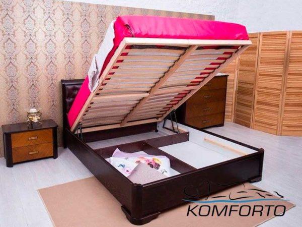 Ліжко Мілена з м'якою спинкою ромби і механізмом