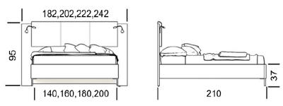 Габарити ліжка Мілан