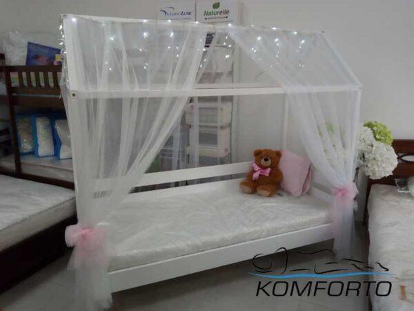 Біле ліжко хатинка Аммі 80×190